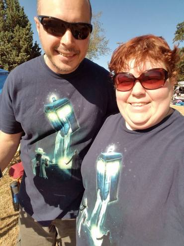 Me and my wife with Star Wars and Dr Who matching shirts