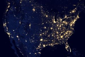 Satellite Image over light pollution in US