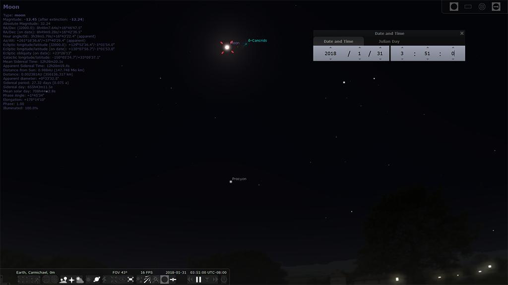 Lunar Eclipse as viewed through Stellarium