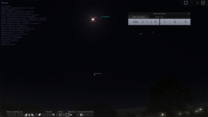 Lunar Eclipse as viewed through Stellarium